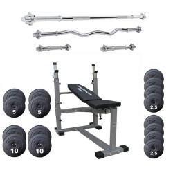 Joy Sport Halterbank met gewichten 110 kg + 4 halterstangen
