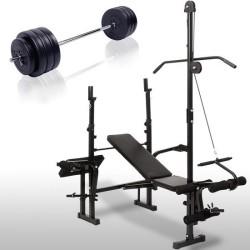 Fitgear halterbank 180 cm halterstang met gewichten 100 kg