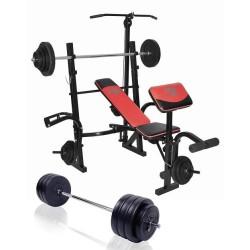 Halterbank 180 cm halterstang met gewichten 100 kg Basic Concept Lux