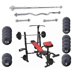 Halterbank 4x halterstang met gewichten 110 kg Basic Concept Lux