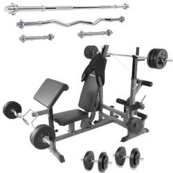 Sc Halterbank 4 x halterstang met gewichten 110 kg