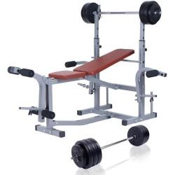 B5 Halterbank 180 cm halterstang met gewichten 70 kg